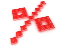 Red Percentage. A percentage symbol made of red blocks, isolated on a white background Royalty Free Stock Image