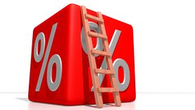 Red percentage cube Royalty Free Stock Images
