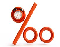 Red Percentage Sign with Alarm Clock. In 3D Royalty Free Stock Image