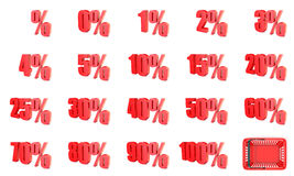 Red percentage sign collection. 3D Royalty Free Stock Image