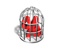 Red percentage sign in the silver cage, 3D illustration Stock Image