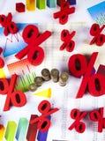 Red percentage symbol, colorful tone Stock Photos