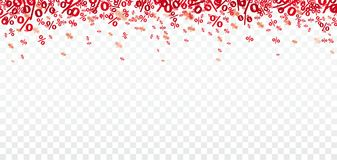 Red Percents Confetti Transparent. Red percents confetti on the checked background Stock Image