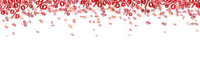 Red Percents Confetti. On the white Stock Photo