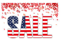 Red Percents USA Sale. Red percents confetti with text Sale on the white Stock Photo