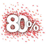80 Red Percents. On the white Royalty Free Stock Photography