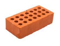 Red perforated ceramic brick isolated on white Royalty Free Stock Photo