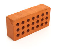 Red perforated ceramic brick isolated on white Royalty Free Stock Image