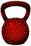 Red Perforated Glossy Kettlebell. Stock Image