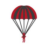 Red person flying with striped parachute graphic icon. On white background. Guardian angel with black and red stripes. Vector illustration in cartoon style of Royalty Free Stock Photography