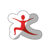 Red person practicing dancing. Icon,  illustraction design image Stock Image