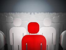 Red person shape standing out among white ones Royalty Free Stock Photos