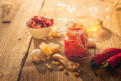 Red pesto Stock Images