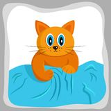 Cute red cat trying to climb the sofa stock illustration