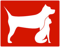 Red Pet Icon With Dog And Cat Royalty Free Stock Photos