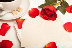 Red petal on table Stock Images