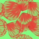 Red petals on green background Stock Photos