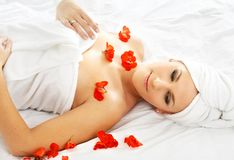 Red petals spa Stock Image