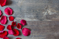 Red petals on wood Stock Images