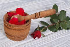 Red petals in a wooden mortar and pestle and a fresh rose Royalty Free Stock Photos