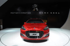 Red Peugeot 308  front Royalty Free Stock Photography