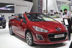 Red peugeot 308 cc car Stock Image