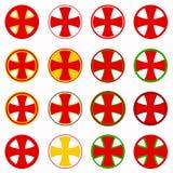 Red pharmacy cross vector set - healthcare medical icon Stock Photo