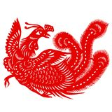 Red phoenix. Chinese traditional culture,Chinese Zodiac of red phoenix Royalty Free Stock Image