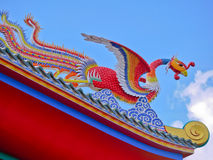 Red phoenix bird in Chinese temple with close up view Stock Photos