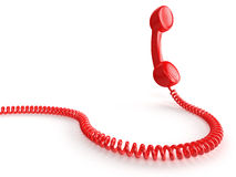 Red Phone. A red telephone receiver on white background. Computer generated image with clipping path Royalty Free Stock Photography