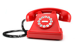 Red phone. 3d illustration of red old-fashioned phone on white background Vector Illustration