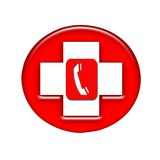 Red phone. A show of telephone in a red-cross Stock Photography