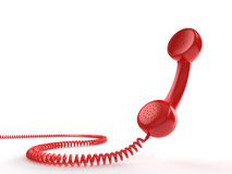 Red Phone. A red telephone receiver on white background. Computer generated image with clipping path Stock Photo