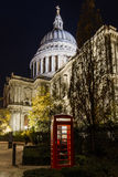 Red Phone Booth in front of St. Pauls Cathedral Stock Photography