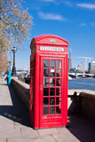 Red phone booth in London. Iconic red phone booth in London Royalty Free Stock Photos