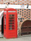 Red phone booth in Vilnius Stock Images