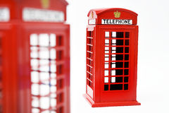 Red phone booth  on white background Stock Photo