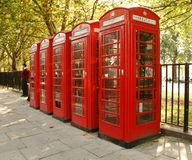 Red Phone Booths. A row of red phone booths in London, England Stock Photography