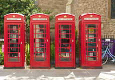 Red phone booths. In Cambridge Royalty Free Stock Image