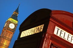 Red phone box and Big Ben. Red Telephone box and Big Ben; London.(focus on Big Ben Royalty Free Stock Photos