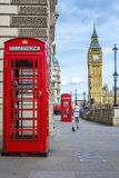 Red phone box with Big Ben Royalty Free Stock Images