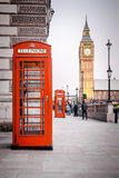 Red phone boxes. A photography of a red phone box in London UK Stock Photography