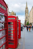 Red phone boxes in Edinburgh, Scotland Royalty Free Stock Photo