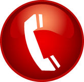 Red phone button Royalty Free Stock Photos