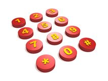 Red phone button keys Royalty Free Stock Photo