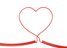 Red Phone Cable With Heart Shape Isolated on White background Stock Photos