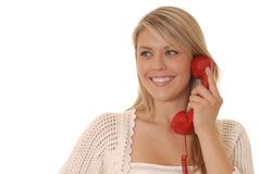 Red Phone Girl Royalty Free Stock Photo