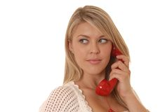 Red Phone Girl Two royalty free stock photography