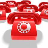 Red phone group Stock Images