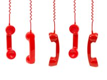 Red Phone Handsets Stock Image